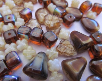 Vintage Glass Beads (75+)(6-12mm) Assorted Glass Bead Lot