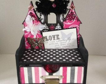 Girly Girl handmade Casttle storage/jewelry box