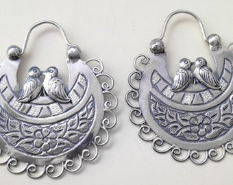 SALE  Lovebirds hoops surrounded by filigree