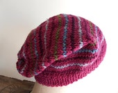 Striped wool hat, slouchy beanie - dark rose pink, raspberry olive wine - women teen