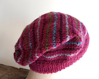 SALE Striped wool hat, slouchy beanie - dark rose pink, raspberry olive wine - women teen