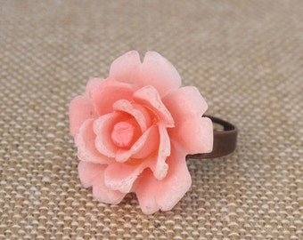 Rose Ring, Flower Ring, Pink Rose Ring,Vintage Pink Rose Ring
