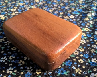 Small Walnut Ring Box with Sliding Lid