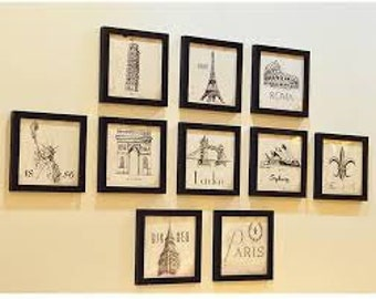 "Set of 10 Black Wood Frames 7 x 7"" - Wall Collage"