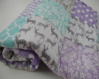 Meadow Deer Gray Mixed Geometrics Lavender Aqua 3 Piece Baby Crib Bedding Set MADE TO ORDER