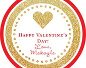 Valentine's Gold Glitter Red Heart round sticker label / cupcake topper / thank you tags for birthday party, baby shower, PERSONALIZED