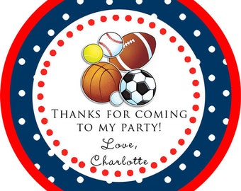 Sports Ball Baseball Soccer Football Thank You PERSONALIZED Stickers, Tags, Labels, or Cupcake Toppers, various sizes, printed & shipped