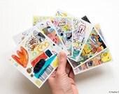 Sketchbook prints no. 14, set of six 4 x 4 cards