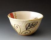 Small Ceramic Bowl with Leaf Design, Handmade Clay Bowl, Icecream Bowl, Soup Bowl, Rice Bowl, Bowls