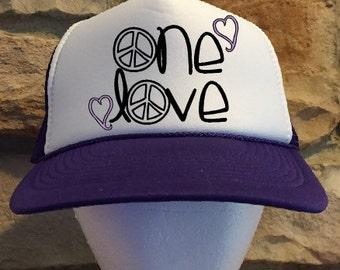One Love Purple Trucker hat