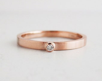 Small rose gold diamond ring | 2mm stackable diamond ring | thin rose gold ring | eco friendly diamond ring