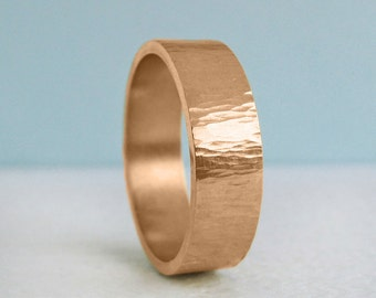 7mm Men's Rose Gold Wedding Band | Rustic Tree Bark Hammer Texture| Recycled Rose Gold 10k 14k 18k | Sustainable Wedding Ring