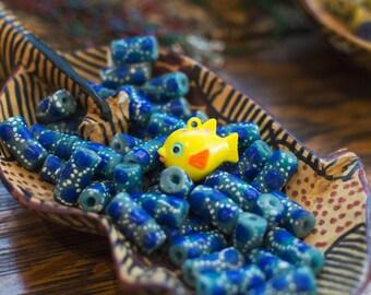 Funny Vintage Yellow Plastic Fat Fish Pendant pnd077C