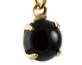 Vintage Black Glass Stone Brass 1 Loop Setting Drops rnd001F