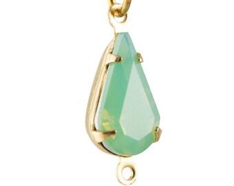 Green Opal Faceted Glass Teardrop Stone in 2 Loop Brass Setting 13x8mm (4) par003AU2
