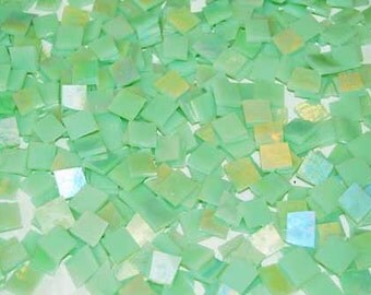 Mini Mint Green Iridescent Stained Glass Mosaic Tiles