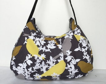 Pleated Bag // Shoulder Purse - Sparrow on Branches in Night