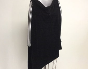 Asymmetrical Black Velvet Tunic Dress