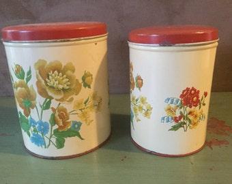 Pair of Vintage Floral Tins