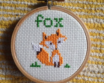 Fox cross stitch personalized monogram