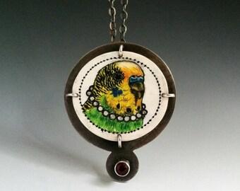 Pretty Bird - shrink art, parakeet, bird jewelry, put a bird on it, shrinky dink, shrink art jewelry, shrink plastic, budgie, bird pendant