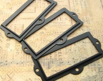 Black Finish Label Holders - Set of 5 - Card Holders Metal Label Frames (LH0021)