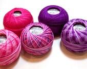 Tatting Thread, Lizbeth Size 20 Cotton Crochet Thread, Girly Mix Collection, Pink and Purple Thread