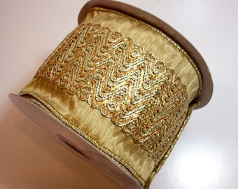 Gold Ribbon, Metallic Gold Wired Fabric Ribbon 4 inches wide x 10 yards, Lion Brand Ingenue Ribbon