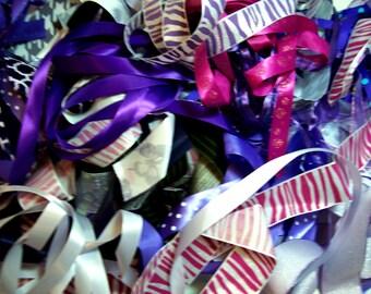 Purple Ribbon Scraps, Bag of Assorted Ribbon and Trim Scraps x 1/2 pound, Ribbon Grab Bag