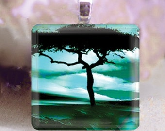 60% OFF CLEARANCE Glass tile pendant - Stunning Horizon Tree
