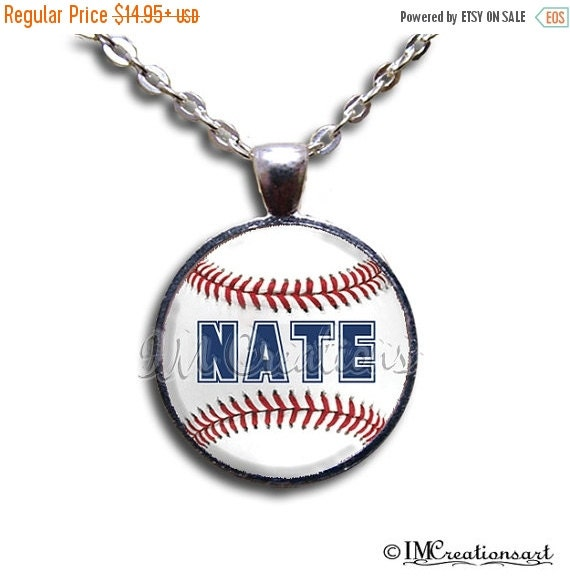 SALE - Personalized Name Baseball - Round Glass Dome Pendant or with Necklace by IMCreations - WD104