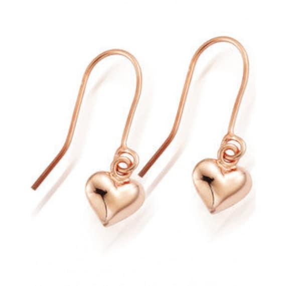 22k Rose Gold Vermeil Heart Drop Earrings, boho jewellery