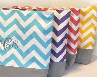 Set of 4 Chevron Totes . Standard size . Design your Own Chevron beach bag . bridesmaid gifts . MONOGRAMMING Available