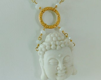 Buddha Necklace - BUDDHA SALE 20% OFF all Buddha necklaces enter code Buddha1 - Buddha Necklace in White Agate and Prehnite