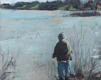 Fisherman Landscape Painting - 12x12 - Original Oil on Canvas Wall Art