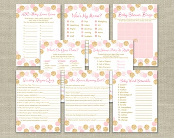 Glitter Baby Shower Games Package / Glitter Baby Shower Games / Glitter Dots / Blush Pink & Gold / 8 Printable Games / INSTANT DOWNLOAD