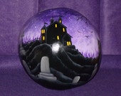 """Hand Painted  15"""" tall x 33"""" Circumference HALLOWEEN Haunted House and Graveyard Gourd - Home Decor -Halloween Decor - Gourd - O.O.A.K."""