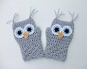 Crocheted Owl Fingerless Gloves, Women's Fingerless Gloves, Ready to Ship