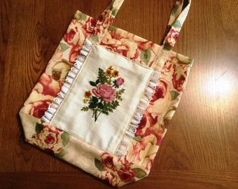 Grocery Tote with Vintage Floral Needlepoint Pocket Durable Tote Bag has Creative Circle 1981 Needlework as Front Pocket Farmers Market Bag