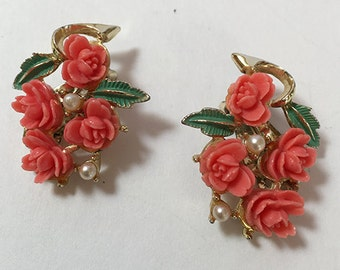 Earrings - Carved Celluloid Roses Clip Earrings Coral Color Vintage- Coral Color Roses Pearl Accents - Gift for Her