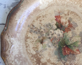 Antique Distressed Floral Plate - Gaskel Department Store Williamson West Virginia Harker Pottery