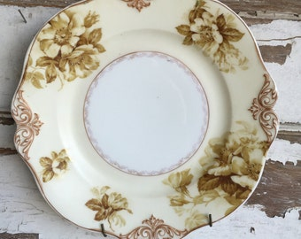 Antique Porcelain Plate - OHME Silesia Old Ivory Plate - Hand Decorated - With Plate Hanger -