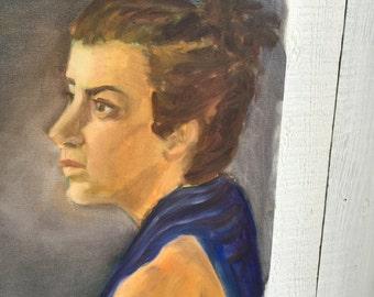 Vintage Painting Portrait Woman in Blue - 16 x 20 Acrylic on Canvas Amateur Art Study