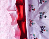 RESERVED / Pink minky swirls with red and pink satin trim / Great baby girl gift / Girl on Bike cotton print