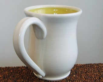 Large Coffee Mug - Stoneware Ceramic Handmade Pottery Mug in Lemon Yellow 16 oz.