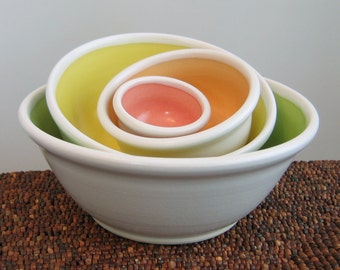 Nesting Bowls - Wedding Gift - Stoneware Ceramic Pottery Prep Bowl Set in Summer Fruits