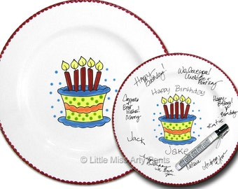 11 inch Ready to Ship - Hand Painted Signature Birthday Plate - Birthday Cake Design