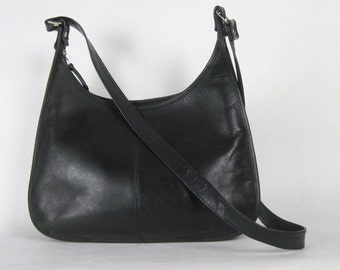 black leather shoulder bag, vintage 1980s purse -  satchel, 80s, classic chic, wako leather