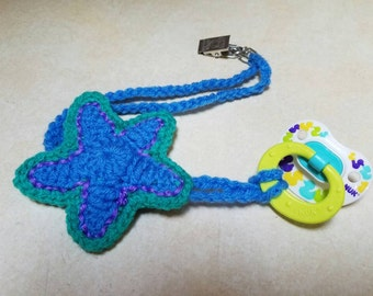 Crocheted star pacifier or teething toy holder