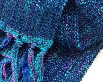 Christmas in July sale handwoven deep ocean blue scarf